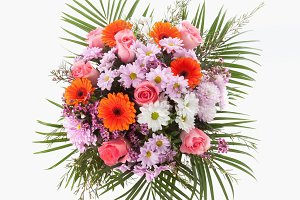 Flowers bouquet seen from above