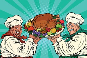 multi-ethnic chefs with roast Turkey