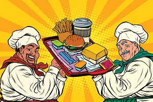 Multi ethnic cooks, fast food