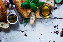 Baguette cut in slices