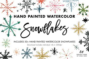Hand Painted Watercolor Snowflakes