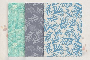 Seaweeds seamless patterns set