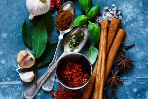 Bright spices and herbs