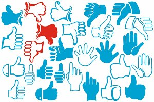 Symbol of human hands. Thumbs up