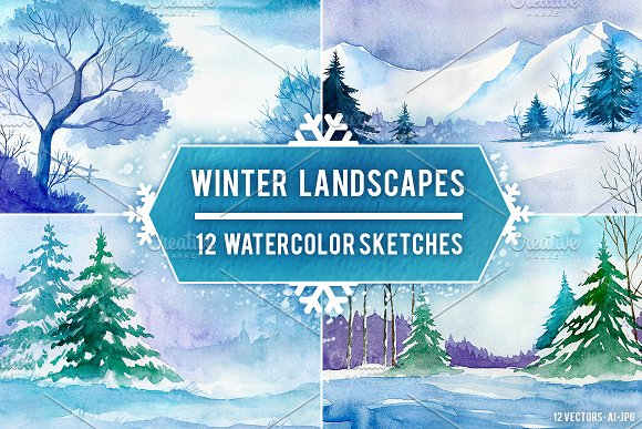 Winter Landscapes. Watercolor. - Illustrations