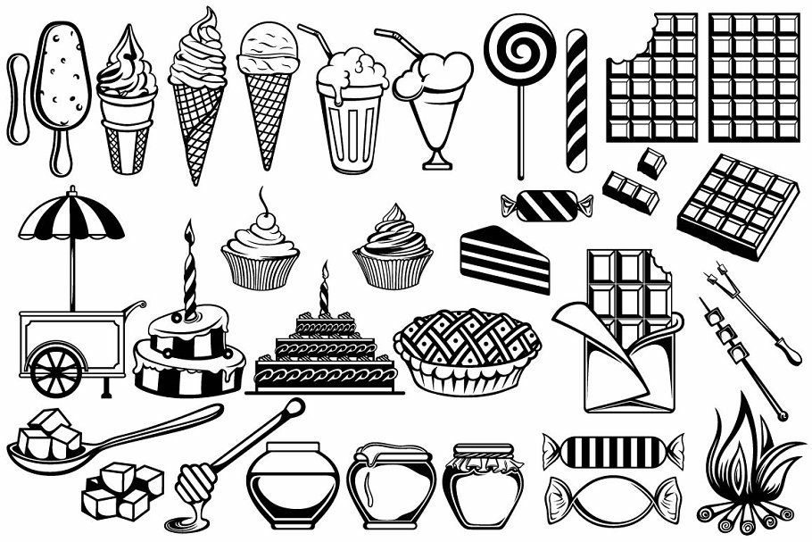 Set of various sweets