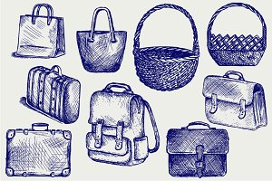 Set of bags, suitcases, baskets