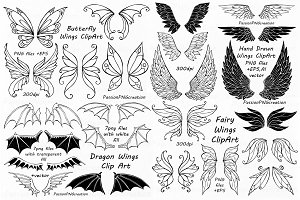 BIG SET of Doodle Wings Clipart