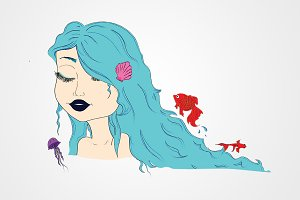Blue hair mermaid character