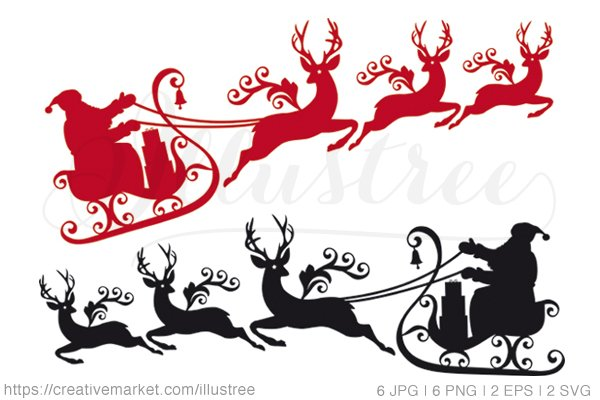 Santa Claus With Reindeer Sleigh Graphics Creative Market