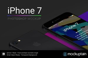 Iphone 7 Mockup Isometric Black
