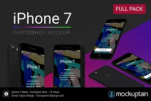 Iphone 7 Mockup Black Full Pack
