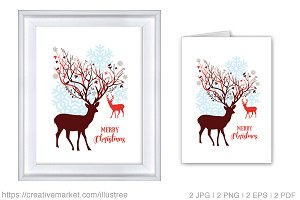 Christmas card and print with deer