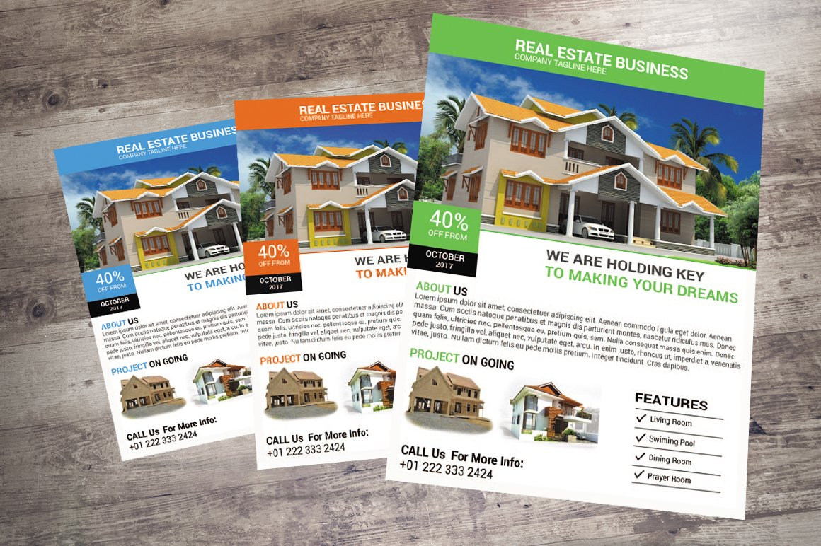real estate flyers design flyer templates on creative market