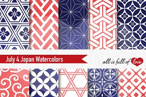 July 4 Watercolor Digital Patterns