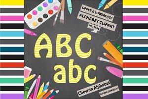 Yellow Alphabet Clipart - Chevron