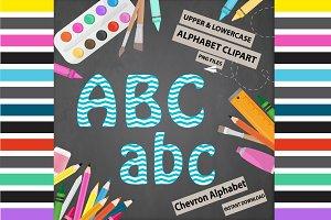 Aqua Alphabet Clipart - Chevron