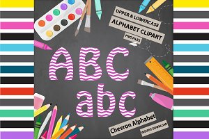 Purple Alphabet Clipart - Chevron