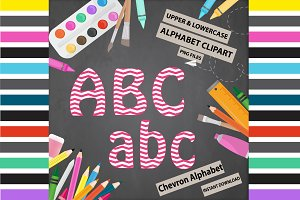 Red Alphabet Clipart - Chevron
