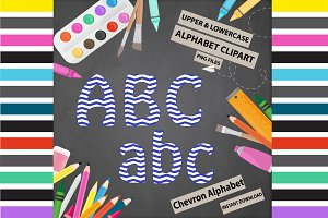 Blue Alphabet Clipart - Chevron