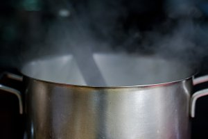 vapor steam from cooking pot