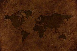 World Map on Vintage Leather Skin