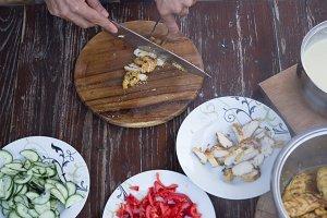 Cooking table food hand preparing