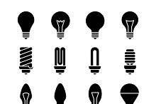 Light bulb and led lamp vector icons