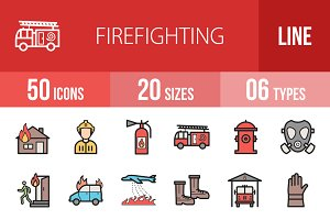 50 Firefighting Line Filled Icons