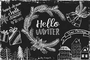 Hello Winter Hand-drawn Chalk Kit