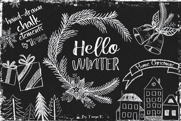 Hello Winter Hand-drawn Chalk Kit