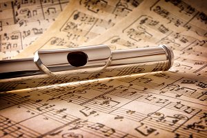 Mouthpiece of flute elevated view