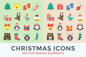 Christmas vector icons set