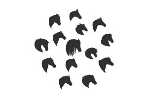 Silhouettes of Horse Heads