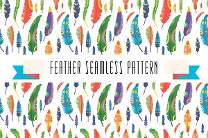 Feathers vector seamless pattern