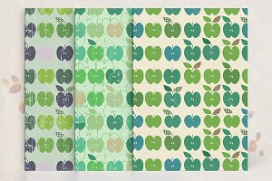 Apple seamless patterns set