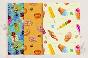Seamless patterns set with food