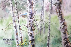 Watercolor landscape with birch.