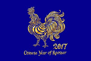 gold Rooster chinese new year 2017