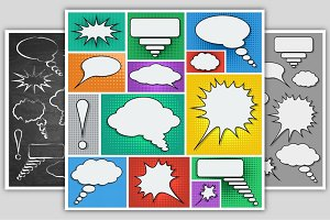 Speech bubbles vector set.
