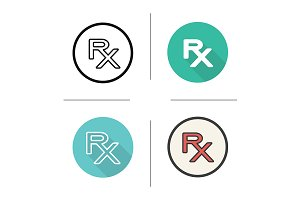 Rx. 4 icons. Vector