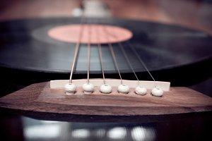 Guitar and vinyl disc