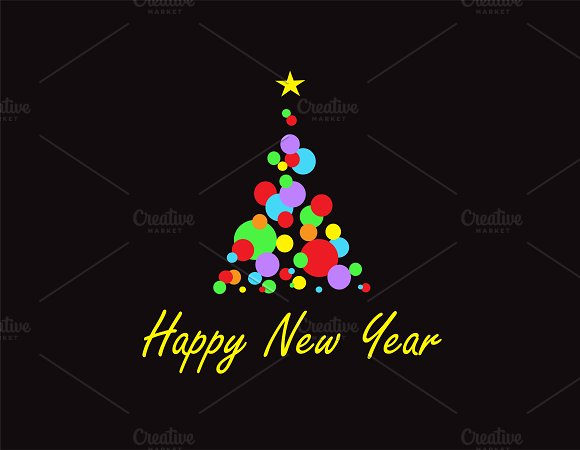happy new year background black icons