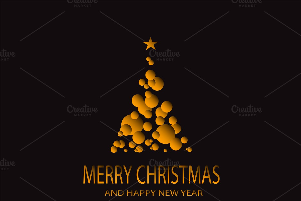 Merry Christmas Orange Tree Vector