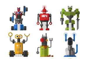 Vintage robots vector