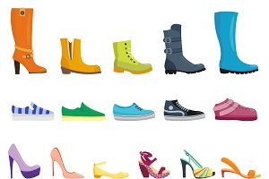 Different shoes vector set