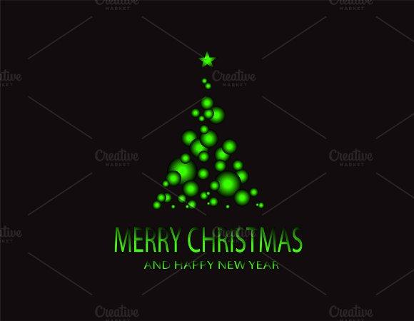Merry Christmas green tree vector