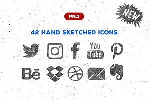 Sketchy social media icons set