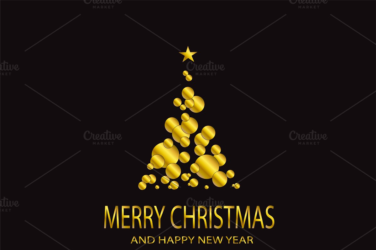 Merry Christmas gold tree vector