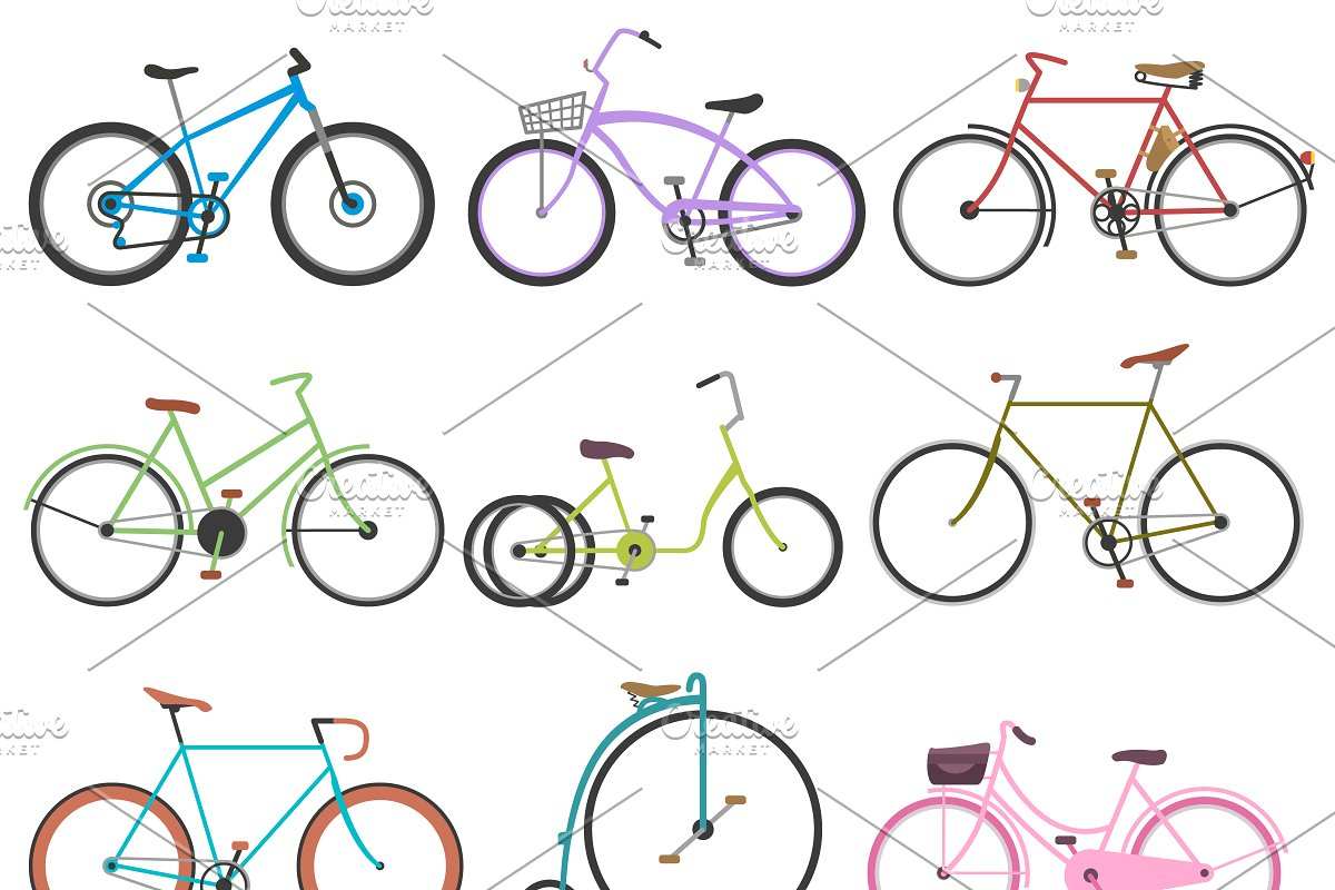 Vintage retro bicycle vector set